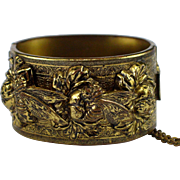 Retro Large Brass Hinged Cuff Bracelet with Repousse Bees and Flowers