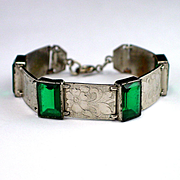 Art Deco Germany Emerald Green Mirror Glass Link Bracelet