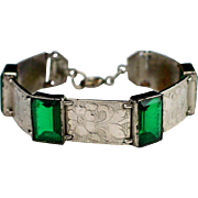 Art Deco Germany Emerald Green Mirror Glass Link Bracelet