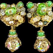 Vintage Wedding Cake Bead Art Glass Chandelier Dangle Earrings