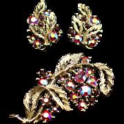 Beautiful Signed Lisner Red Aurora Borealis Rhinestone Brooch and Earrings