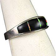 Unique Vintage Sterling Inlay Onyx and Opal Band Ring Size 7