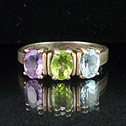 Large Sterling Triple Stone Topaz Peridot and Amethyst Estate Ring Size 10