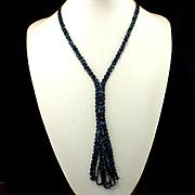 Woven Glass Aurora Blue Beads Flapper Tassel Necklace Sautoir
