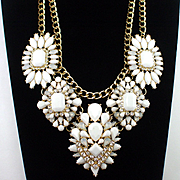 Large Vintage Rhinestone & Glass Festoon Necklace