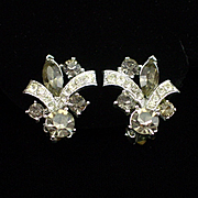 Beautiful Signed Weiss Smokey Rhinestone Earrings