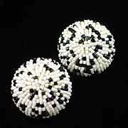 1960s Napier Extra Large Black & White Glass Bead Button Earrings