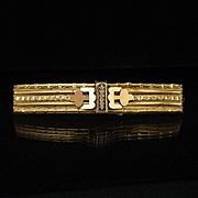 Large Designed 9k Rose Gold Bar Pin Brooch