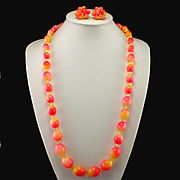 Stunning Colorful Vintage Lucite Necklace and Cluster Earrings