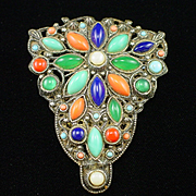 Large Art Deco Pot Metal Multi Color Glass Bead Fur Clip