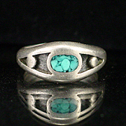 Signed Native American Sterling Crushed Turquoise Ring Size 5