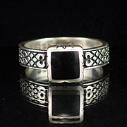 Unique Heavy Sterling Signed High Mount Onyx Ring Size 6-1/2