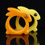 Pair of Bakelite Bunny Rabbit Napkin Rings with Rodded Eyes