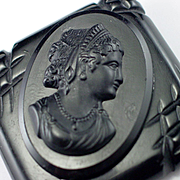 Large Detailed Carved Black Cameo Brooch Pin