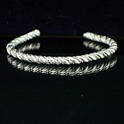 Heavy Vintage Sterling Rope Twist Bangle Cuff Bracelet