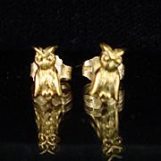 Estate 14k Yellow Gold Figural Owl Stud Post Earrings
