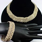 Art Deco Woven Silver Necklace and Bracelet