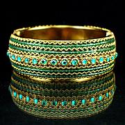 Unique Bold Glass Bead and Rhinestone Clamper Bracelet