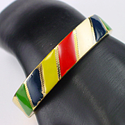 Unique Winard Gold Filled Enamel Hinged Bangle Bracelet