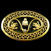 Unique Buddha and Double Headed Serpent Sash Pin or Brooch
