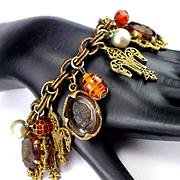 Large Heavy Deco Intaglio Cameo Charm Bracelet