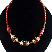 Beautiful Retro Ruby Red Glass Necklace