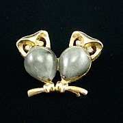 1960s Crown Trifari Glass Body Owls on a Branch Brooch Pin