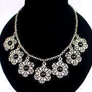 Art Deco Fine Silver Filigree Flower Festoon Necklace