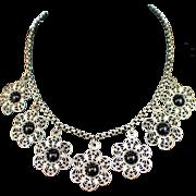 Art Deco Fine Silver Filigree Flower Festoon Necklace