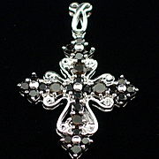 Beautiful Vintage Sterling Smoky Quartz Cross Pendant