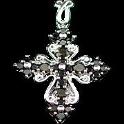 Beautiful Vintage Sterling Smoky Quartz Cross Pendant