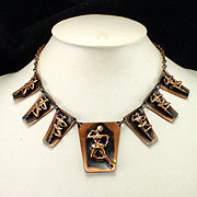 Unique Mid Century Copper Dancer Ballerina Festoon Necklace