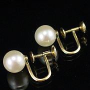 Early Mikimoto 14k Cultured 8mm Pearl Screw Back Earrings