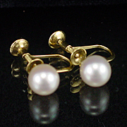 Early 14k Mikimoto 7mm Cultured Pearl Screwback Earrings