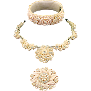 Vintage Molded Celluloid Rhinestone Parure Clamper Bracelet Necklace Brooch