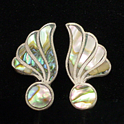 Early Mexican Sterling Abalone Screwback Earrings