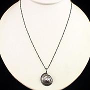 Unique Retro Sterling Silver Shell Design Pendant Necklace
