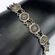 1930s Art Deco Italian 800 Fine Filigree Bracelet
