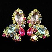 Large Glitzy Weiss Multi Color Rhinestone Earrings