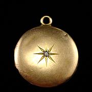 1902 Edwardian 10k Double Locket Pendant with Star Burst Diamond