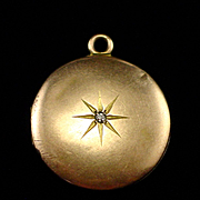 1902 Edwardian 10k Double Locket Pendant with Star Burst Diamond