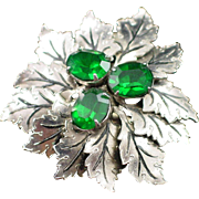 Signed Sandor Textured Leaf with Emerald Green Rhinestones Brooch