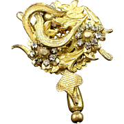 Large Unsigned Miriam Haskell Layered Wired Rhinestone Flower and Leaf Stickpin