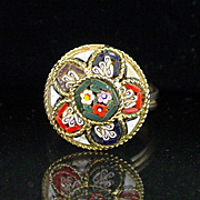 Vintage Italian Floral Micro Mosaic Ring
