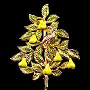 Accessocraft Enamel Partridge in a Pear Tree Brooch Pin