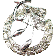 Beautiful Vintage Star-Art Sterling Baguette Rhinestone Pendant Brooch
