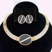 Stunning Parklane Large Rhinestone Choker Necklace and Earrings