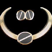 Stunning Parklane Large Rhinestone Choker Necklace and Earrings