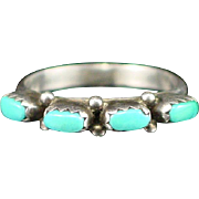 Vintage Sterling Turquoise Row Ring Size 7-1/2