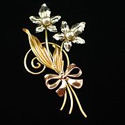 Van Dell Gold Filled Flower Brooch Pin